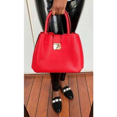 Handtas-Lin rood rode-tassen-dames-kunstleder-giulliano-tas-zilver-beslag-kopen-kantoor