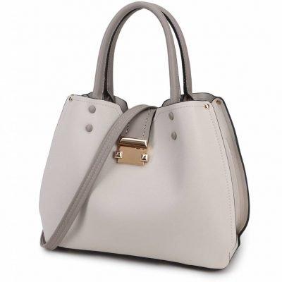 Handtas Lisa grijs grijze tassen dames kunstleder giulliano tas zilver beslag kopen kantoor