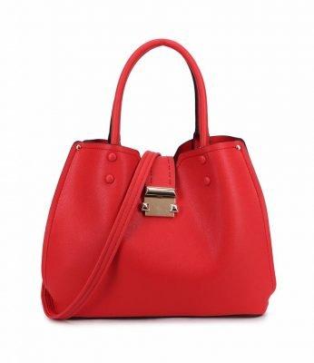 Handtas Lisa rood rode tassen dames kunstleder giulliano tas zilver beslag kopen kantoor