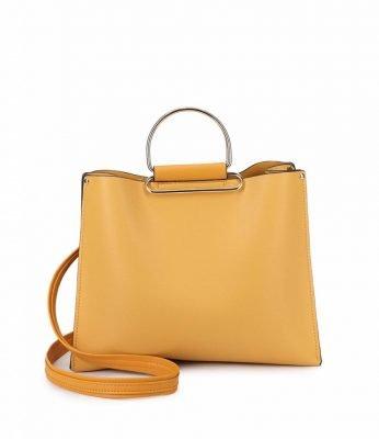 Handtas Silver Circle geel gele dames handtassen circkel vormig handvat giulliano tassen kopen