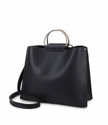 Handtas Silver Circle zwart zwarte dames handtassen circkel vormig handvat giulliano tassen kopen