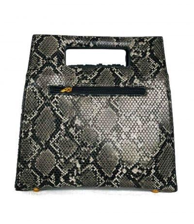 Handtas Snake Fringe zwart wit vierkante slangenprint tassen met fringe franjes gouden studs giuliano tassen online kopen achterkant