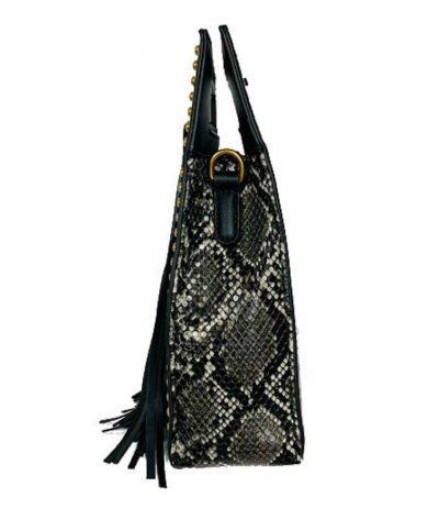Handtas Snake Fringe zwart wit vierkante slangenprint tassen met fringe franjes gouden studs giuliano tassen online kopen online zijkant