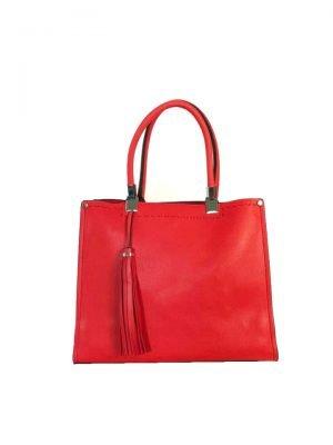 Handtas Yara Tassle rood rode dames handtassen schoudertassen kantoor giulliano tassen bestellen
