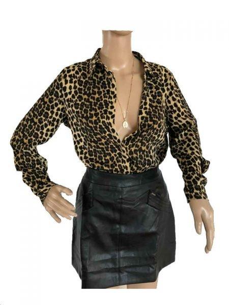 Hemd My Panter Yellow Bruin beige blouse hemden panterprint leopard kopen sexy v hals bestellen