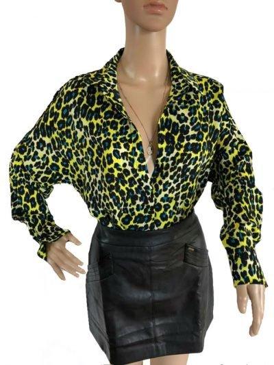 Hemd My Panter Yellow gele geel blauw blouse hemden neonprint panterprint leopard kopen