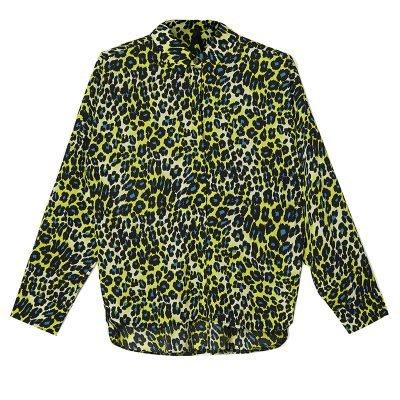 Hemd My Panter Yellow gele geel blauw blouse hemden neonprint panterprint sexy v hals leopard kopen