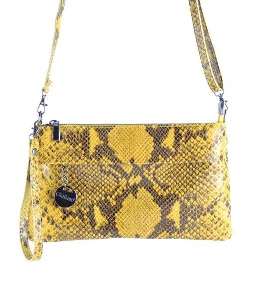 Leren-Clutch-Snakes-geel gele-slange