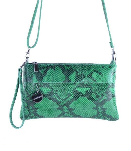Leren-Clutch-Snakes-groen groene-slange