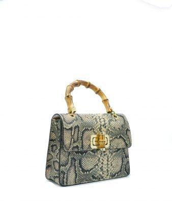 Leren Handtas Lovely Wood Snake beige creme dames tassen leder houten handvat kopen bestellen luxe