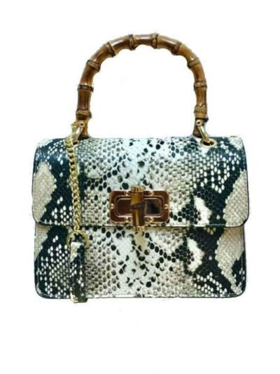 Leren-Handtas-Lovely-Wood-Snake-taupe slangenprint dames-tassen-leder-houten-handvat-kopen-bestellen-luxe-