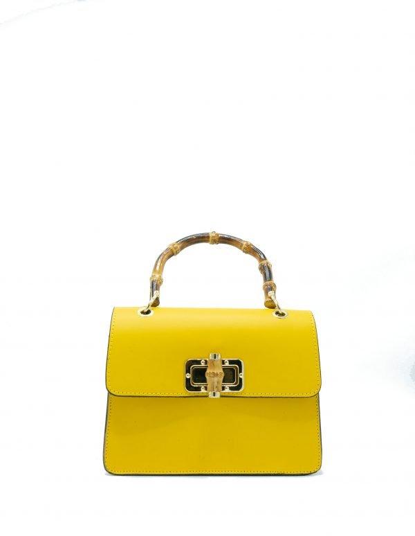 Leren Handtas Lovely Wood geel gele dames tassen leder houten handvat kopen bestellen luxe