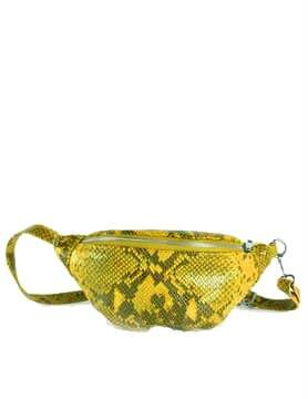 Leren Heuptas Snakes geel gele zwarte fannypack beltbag riemtassen leder leer heuptassen kopen trendy - kopie