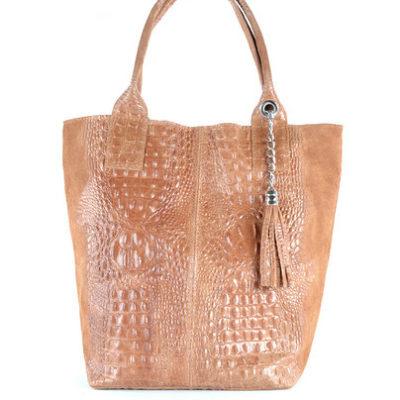 Leren Shopper Happy Croco bruin bruine camel dames tassen shoppers kwastje lederen krokoprint shoppers kopen