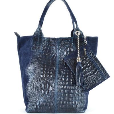 Leren Shopper Happy Croco donker blauw blauwe dames tassen shoppers kwastje lederen krokoprint shoppers kopen
