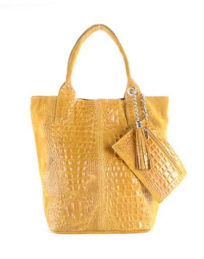 Leren Shopper Happy Croco geel gele dames tassen shoppers kwastje lederen krokoprint shoppers kopen