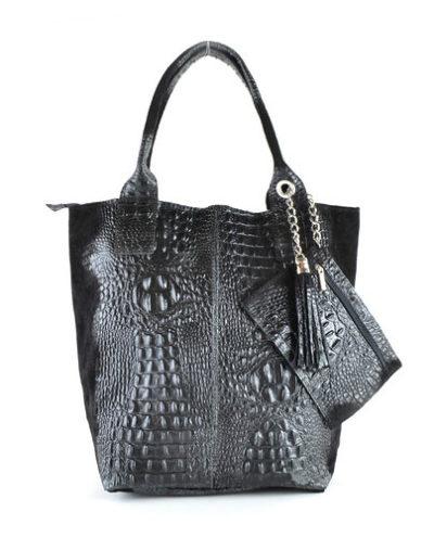 Leren Shopper Happy Croco zwart zwarte dames tassen shoppers kwastje lederen krokoprint shoppers kopen