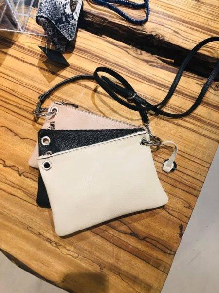 Leren Trio clutch Beige zwart roze 3 kleurige clutches schoudertassen online kopen giuliano - kopie