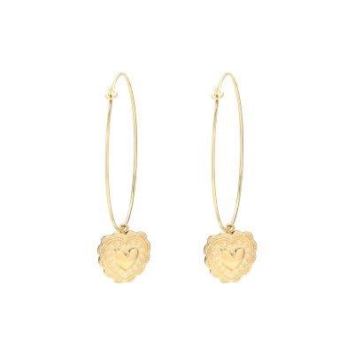 Oorbellen True Love goud gouden oorhangers hart bedel rvs sieraden kopen dames