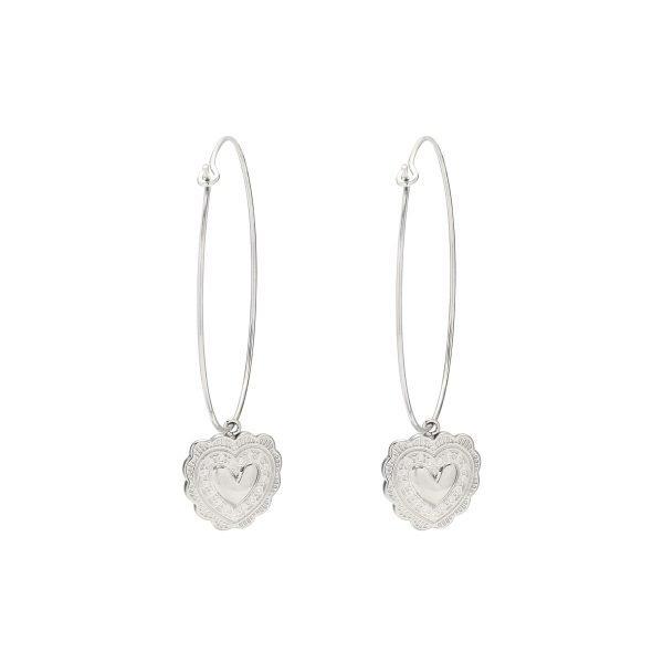 Oorbellen True Love zilver zilveren oorhangers hart bedel rvs sieraden kopen