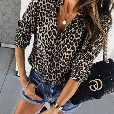 Panterprint Blouse My Leopard bruin beige leopard dames blouse hemd hemden kopen