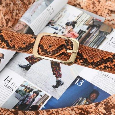 Riem Cool Snake oranje orange bruin dames riemen slangenprint snake print trendy riemen belts kopen