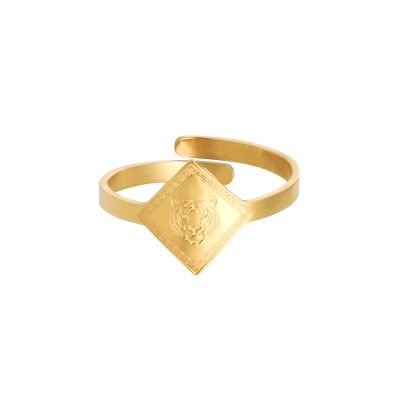 Ring Fierce Tiger Goud gouden dames open ringen verstelbare fashion driekhoeks rvs ringen kopen
