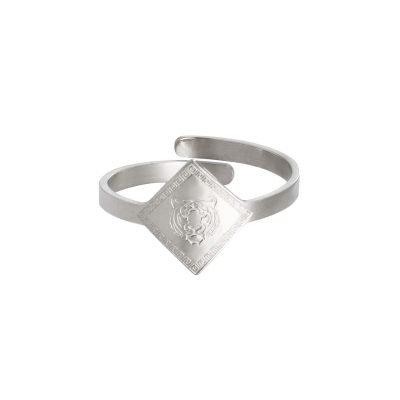 Ring Fierce Tiger zilver zilveren dames open ringen verstelbare fashion driekhoeks rvs ringen kopen