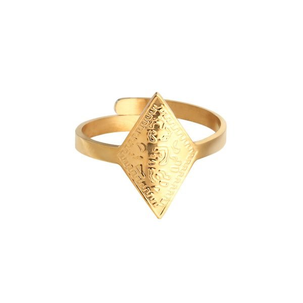 Ring Leopard Spots Goud gouden dames open ringen verstelbare fashion driekhoeks rvs ringen kopen