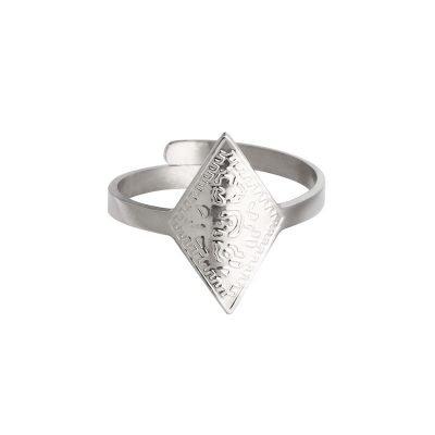 Ring Leopard Spots zilver zilveren dames open ringen verstelbare fashion driekhoeks rvs ringen kopen