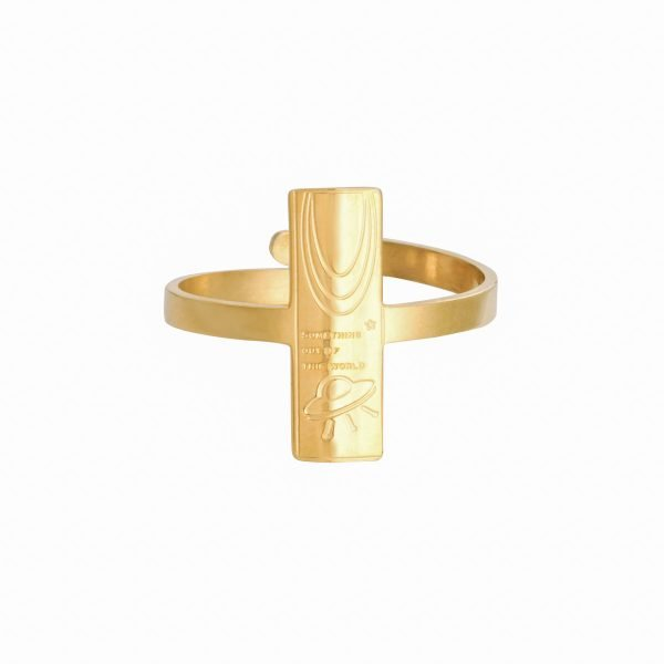 Ring Space Moon Goud gouden dames open ringen verstelbare fashion vierkante rvs ringen kopen