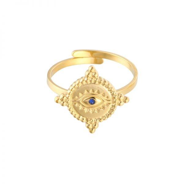 Ring The Look Goud gouden dames open ringen verstelbare fashion oog detail rvs ringen kopen