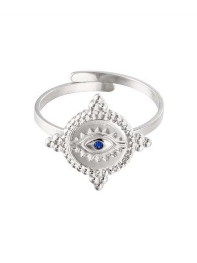 Ring The Look zilver zilveren dames open ringen verstelbare fashion oog detail rvs ringen kopen