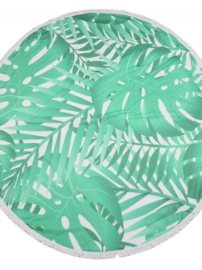 Roundy Green Leaves rond strandlaken strandbaddoek trendy fashion beach accessoires kopen