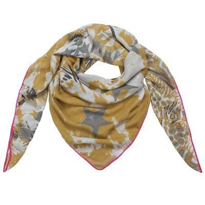 Sjaal Happy Stars geel gele print sjaal neon roze lijn mushtave fashion dames sjaals kopen bestell