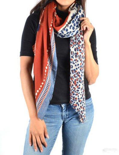 Sjaal Happy Tiger rood rode wit zwart gekleurde print sjaal dames sjaals omslagdoekken dieren print trendy giuliano bestellen trends