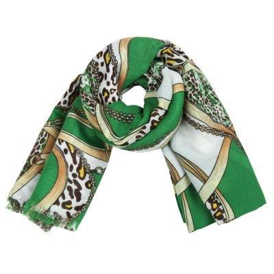 Sjaal Leo Belts & Chains groen groene gekleurde dames sjaals kleurrijke prints online kopen bestellen