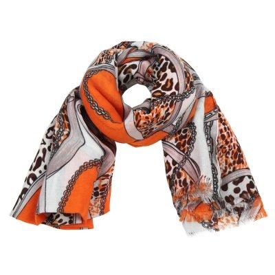 Sjaal Leo Belts & Chains rood rode gekleurde dames sjaals kleurrijke prints online kopen bestellen