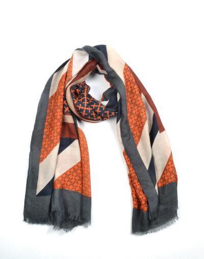 Sjaal Multi Prints bruin oranje fijn geweven trendy dames sjaals omslagdoeken giuliano kopen bestellen