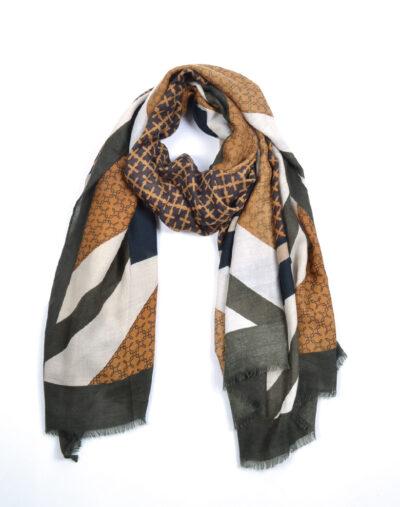 Sjaal Multi Prints groen groene fijn geweven trendy dames sjaals omslagdoeken giuliano kopen bestellen