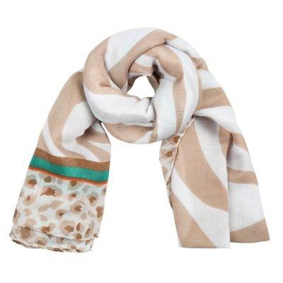 Sjaal Safari Dreams beige wit witte dames sjaals kleurrijke print kopen sjaals sjaaltjes