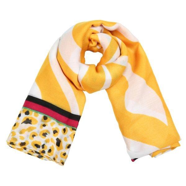 Sjaal Safari Dreams geel gele wit witte dames sjaals kleurrijke print kopen sjaals sjaaltjes
