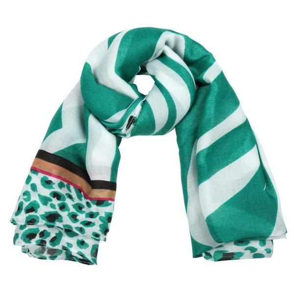 Sjaal Safari Dreams groen wit witte dames sjaals kleurrijke print kopen sjaals sjaaltjes