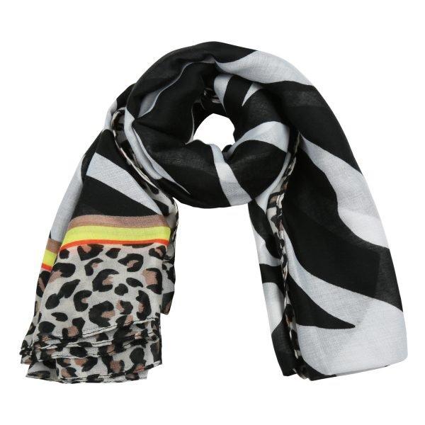 Sjaal Safari Dreams zwart wit witte dames sjaals kleurrijke print kopen sjaals sjaaltjes