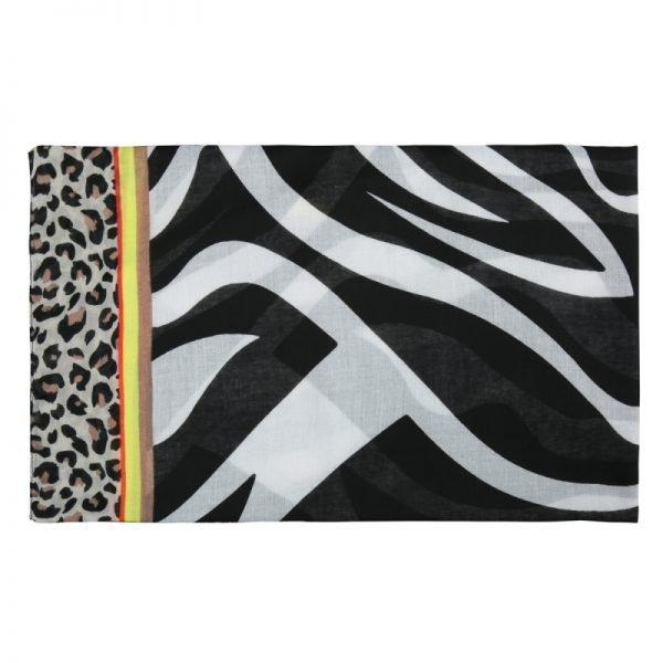 Sjaal Safari Dreams zwart wit witte dames sjaals kleurrijke print kopen sjaals sjaaltjes detail