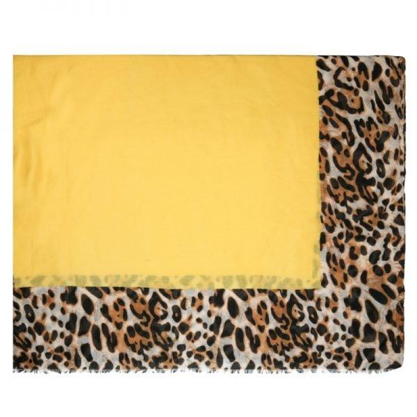 Sjaal Wild leopard geel gele leopard panterprint sjaals sjaaltjes online kopen dames accessoires details