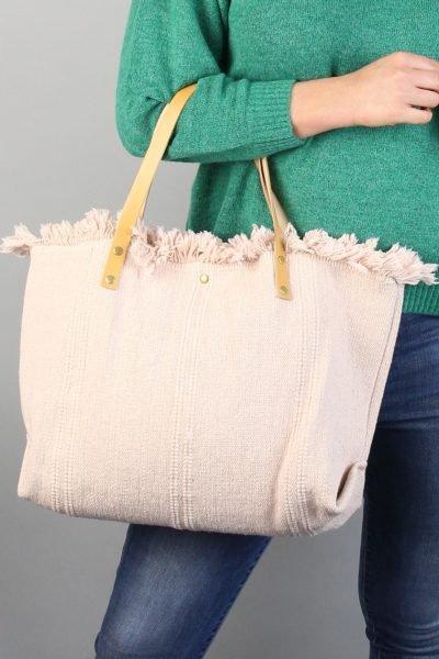 Strandtas Berry Creme beige canvas strandtassen summerbags zomert