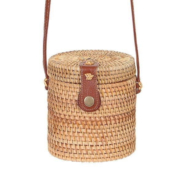 Tas Rattan Bucket rond bucket vorm rotan rieten dames tassen unieke fashion kopen bestellen trendy