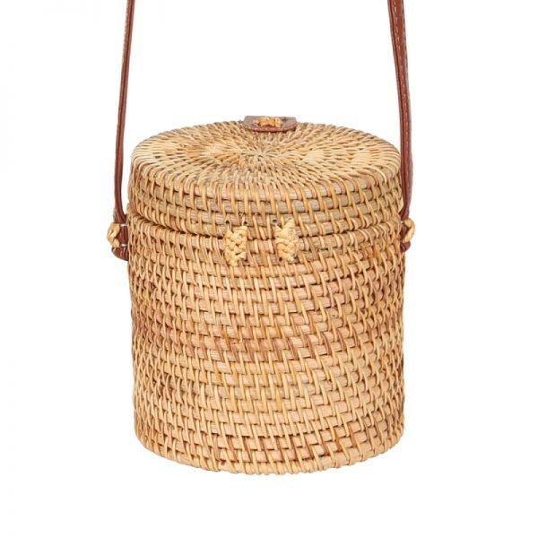 Tas Rattan Bucket rond bucket vorm rotan rieten dames tassen unieke fashion kopen bestellen trendy achter