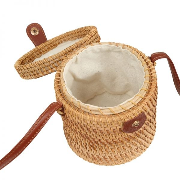 Tas Rattan Bucket rond bucket vorm rotan rieten dames tassen unieke fashion kopen bestellen trendy in